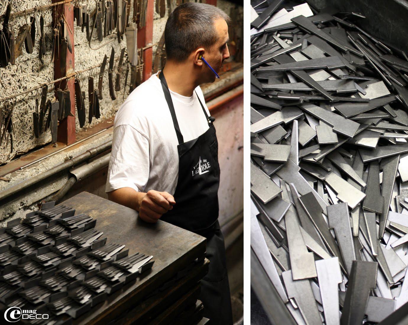 Crampons d'acier avant d'être forgés pour la fabrication des couteaux de Laguiole