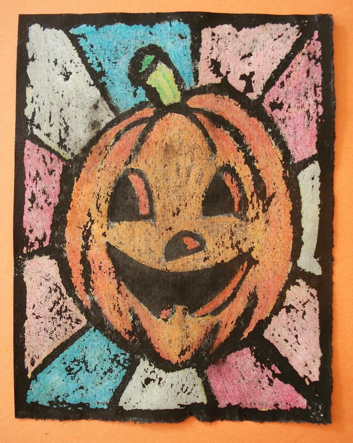 a faithful attempt: Oil Pastel Resist Halloween Art