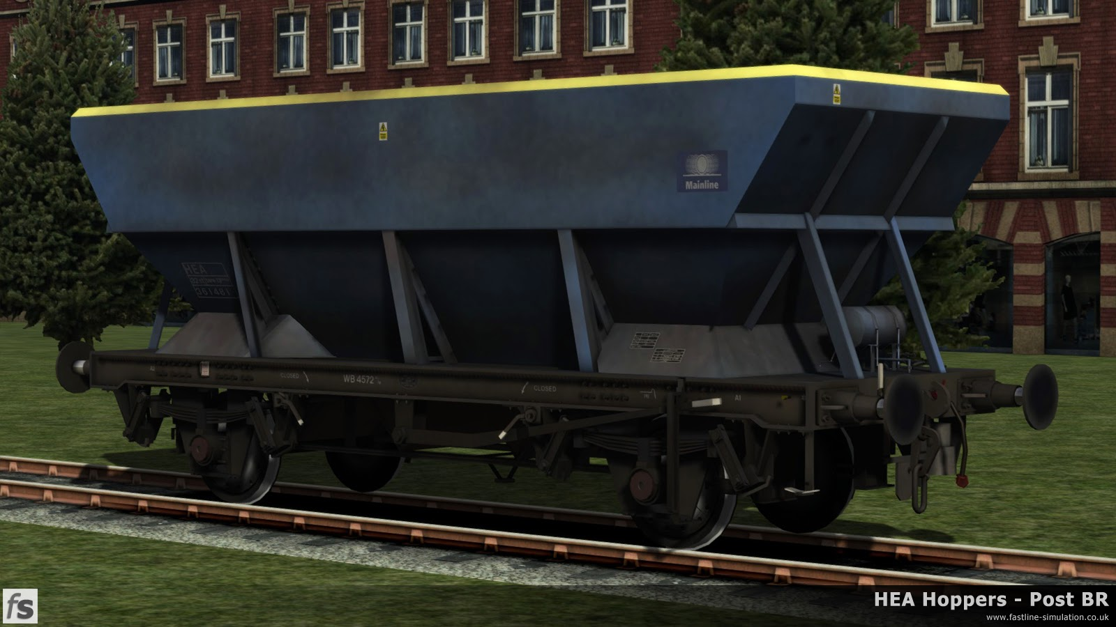 HEA Hoppers - Post BR: What would have been a later built HEA hopper with an offset ladders (now removed) in faded and grubby Mainline livery for Train Simulator 2014.