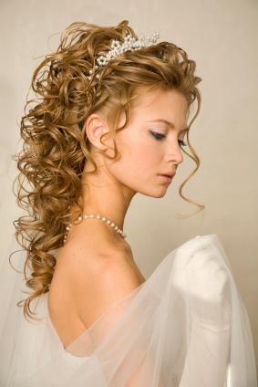 Curly Wedding Hairstyle With Tiara