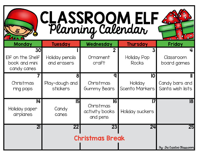 Elf on the Shelf Planning Calendar
