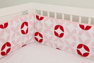Olli Ella | Contemporary Nursery Bedding | Posey Cot Bumper. Shown in close up.