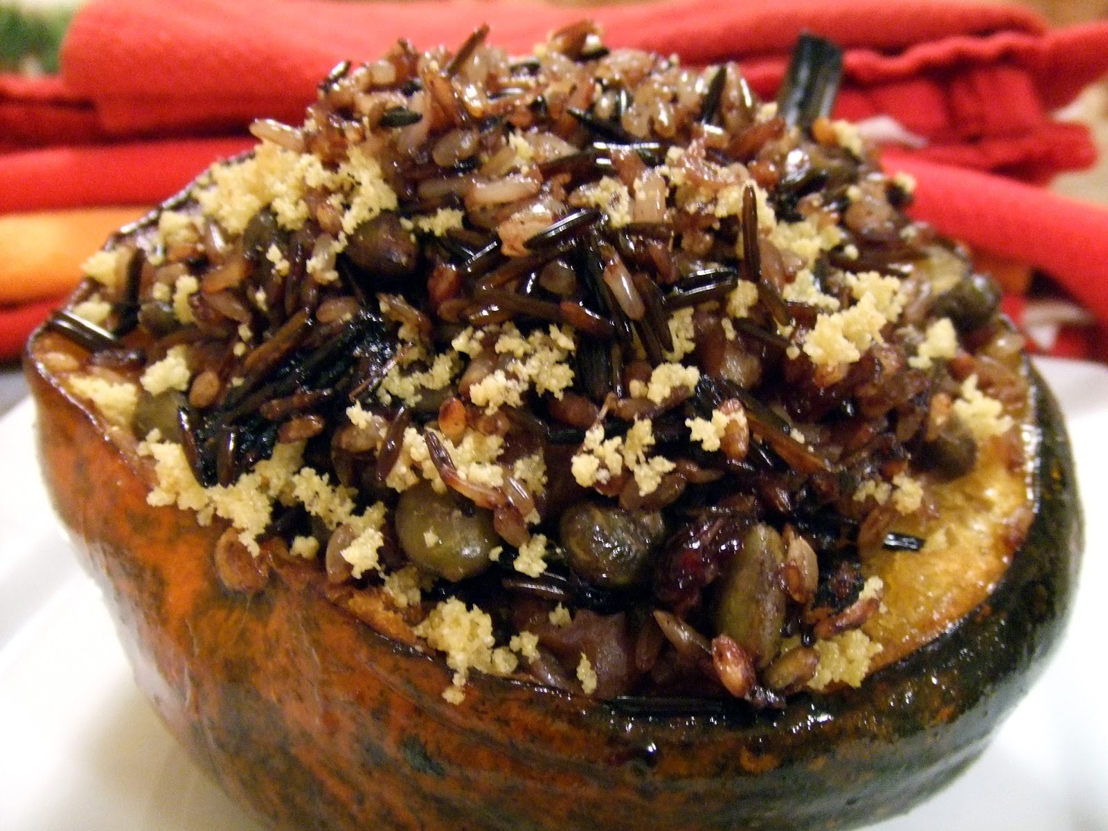Baked Acorn Squash Stuffed with Wild Rice, Edamame, Walnuts and ...