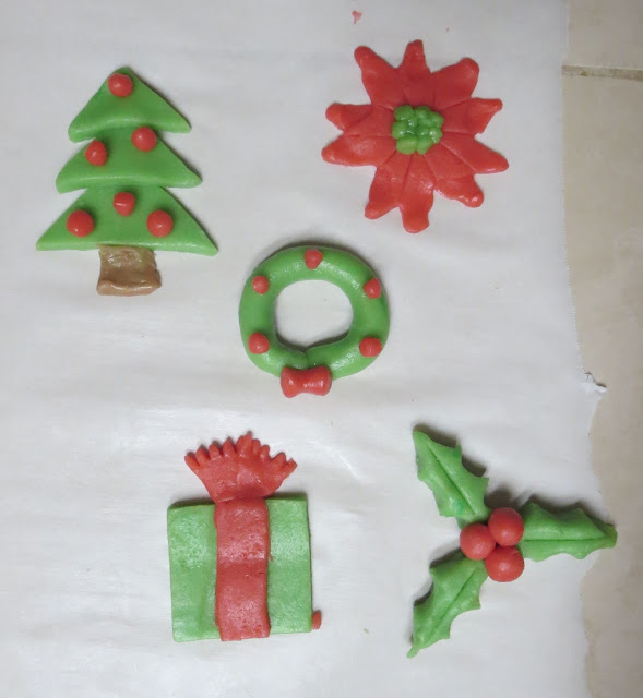 Homemade Christmas Cookies - Wreath, Poinsettia, Tree, Present, Holly Berries - Before Baking