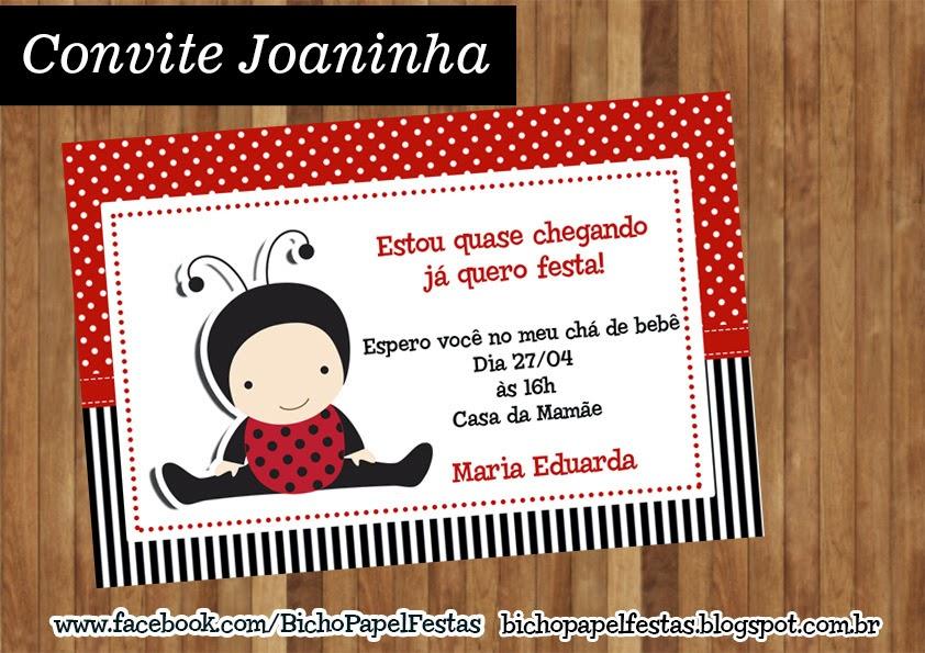 Arte para convite Joaninha