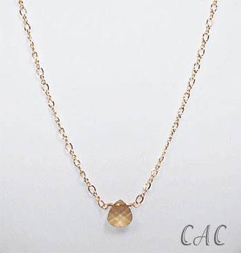 Golden Crystal Briolette Drop Necklace (N013)