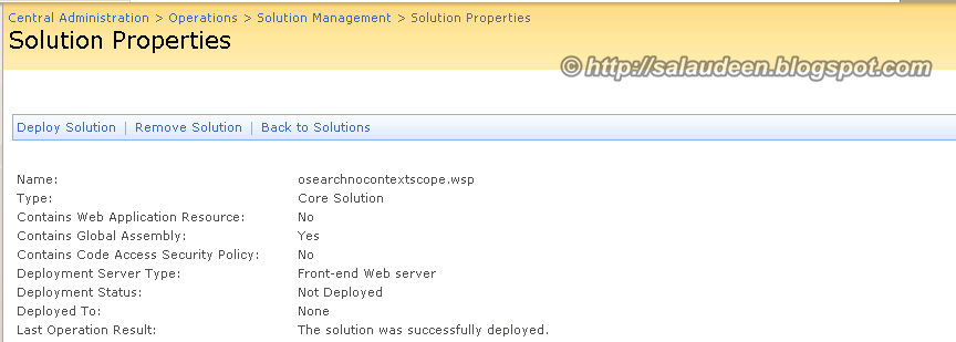 Solution Successfully Deployed but deployment status shows: Not deployed!