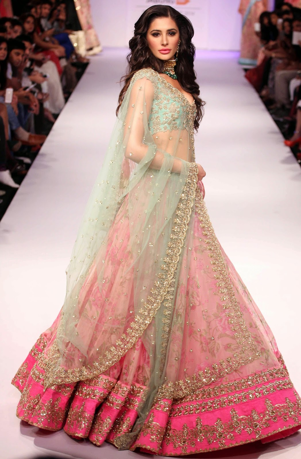 Nargis Fakhri Photos in Lehenga Choli at Lakme Fashion Week Winter ...