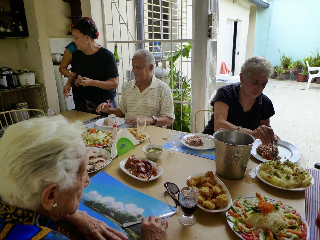 Santiago de Cuba eating with friends