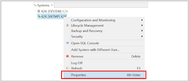 SAP HANA license Context menu