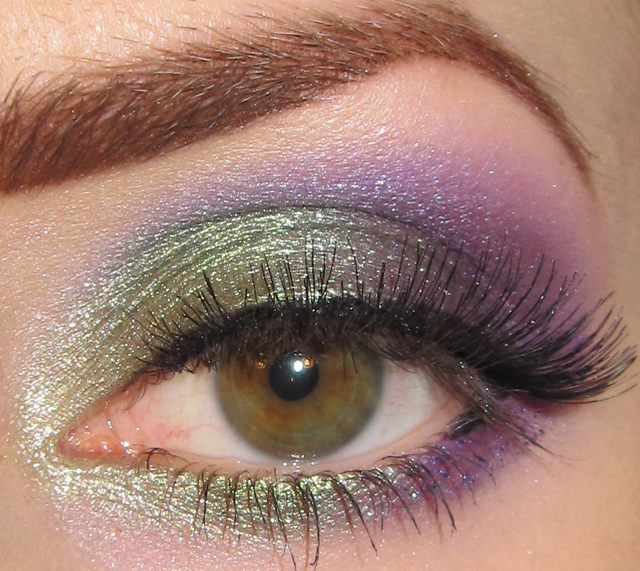 Glitter Is My Crack Green And Purple Eye Makeup Look Picture