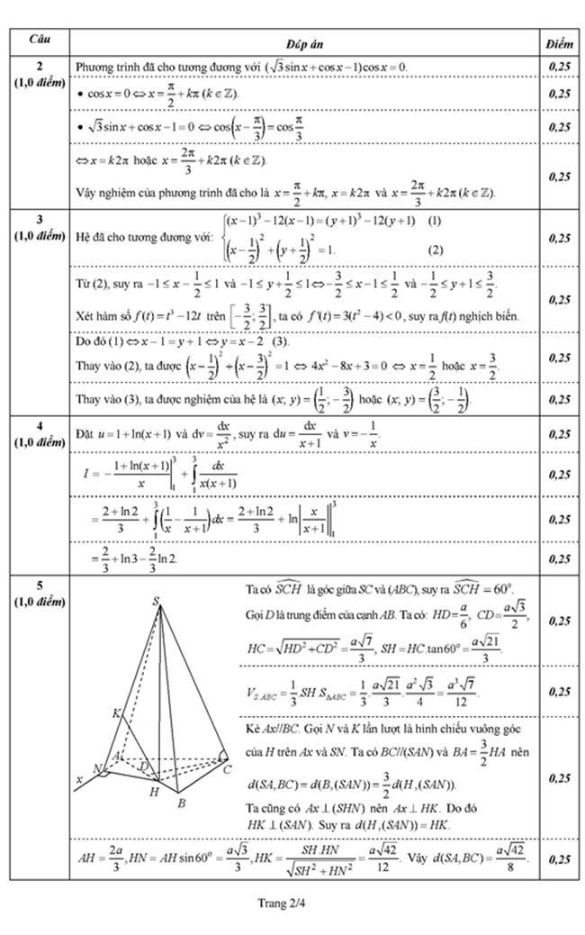 đáp án đề thi môn toán khối b năm 2012 của bộ giáo dục