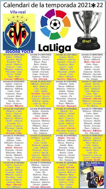 Calendari de Lliga 2021/22 (2ª volta)