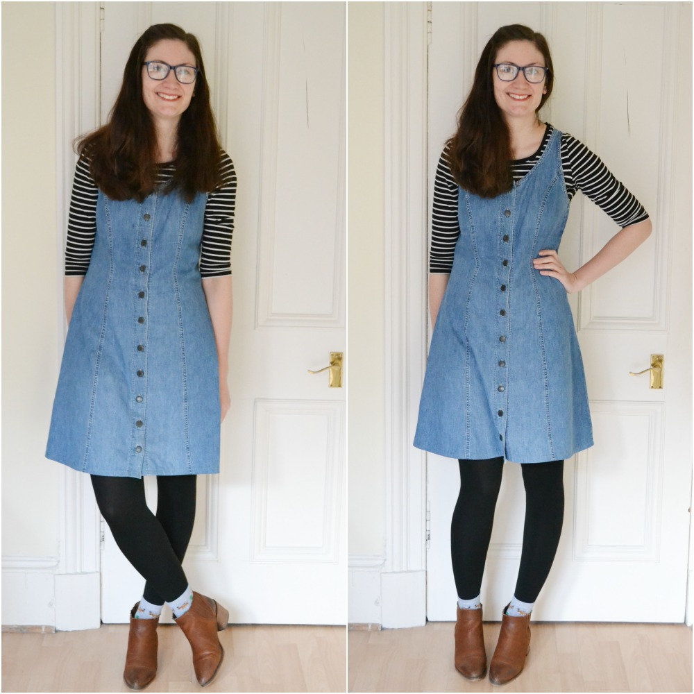 charity shop outfit vintage cardigan denim pinafore dress layers ankle boots office