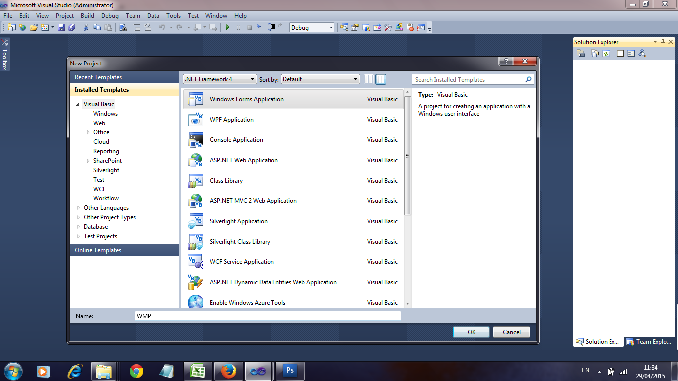 how to add windows media player to visual studio 2015