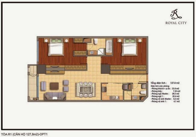 mặt bằng căn hộ R1 diện tích 127.8m2 Royal City