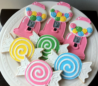 Decorated Candyland Birthday Cookies; bubblegum machines; game pieces; great favors