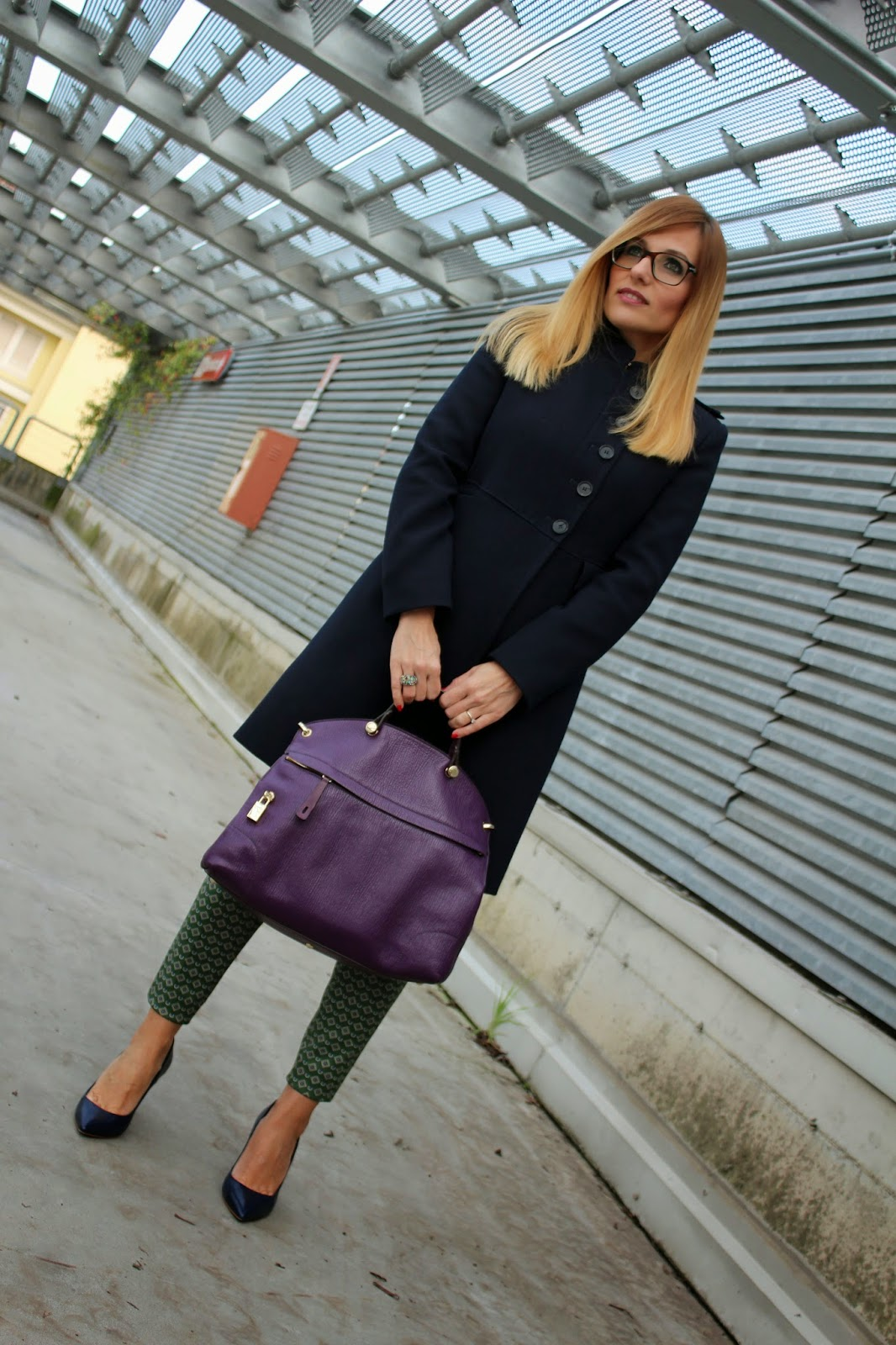 Eniwhere Fashion - Blue coat and Furla bag