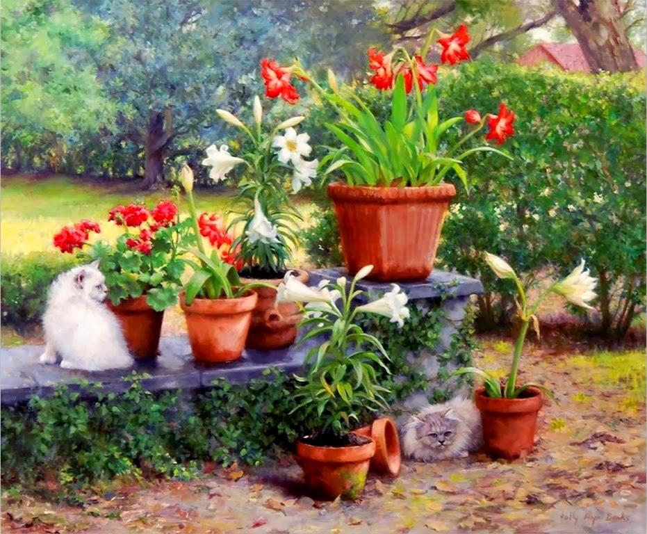 Cuadros modernos pinturas y dibujos oleos de flores for Jardin 0 l4anglaise