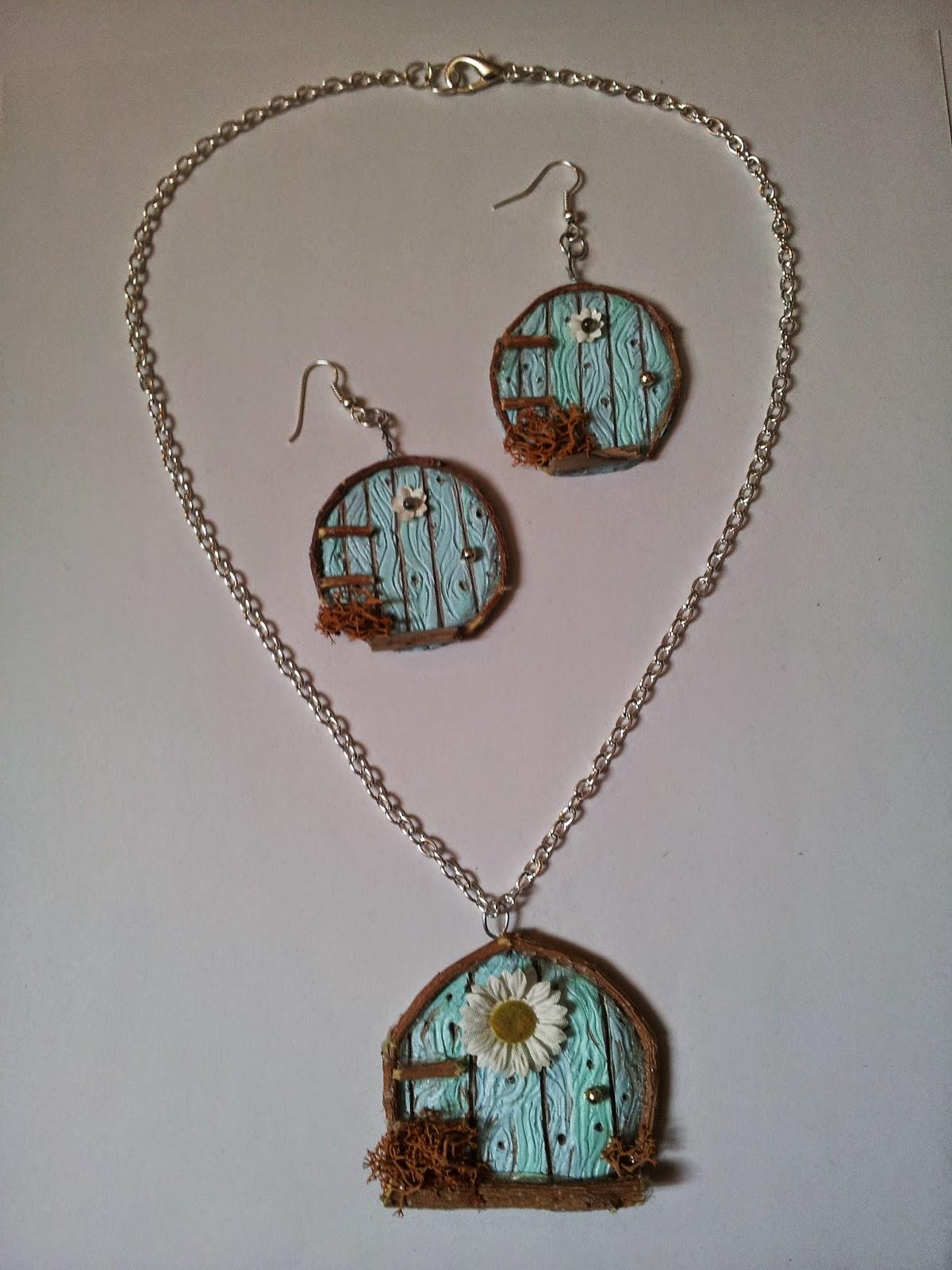 necklet collana fairy elf gnome door porta delle fate handmade polymerclay