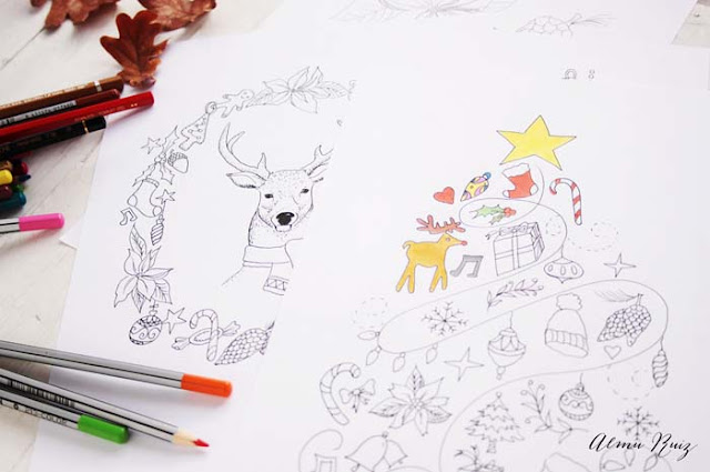Ilustraciones navideñas para colorear