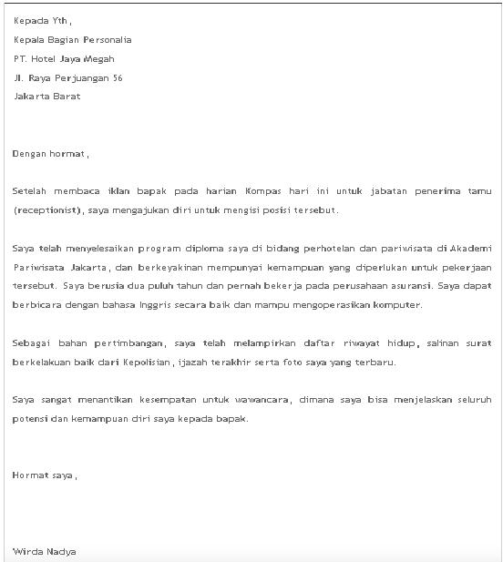 contoh surat lamaran pekerjaan bahasa indonesia