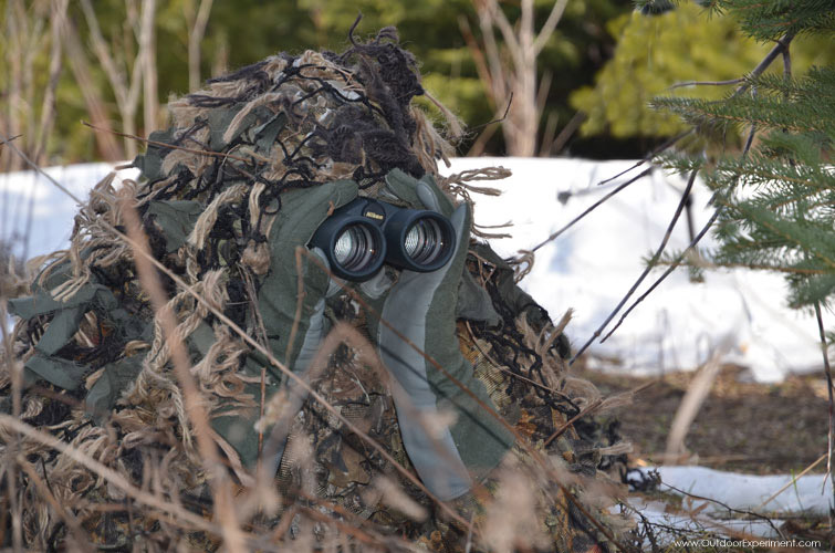 Stalking & watching deer with ghillie suite & Nikon binoculars