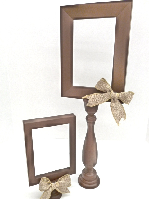 to make one i just spray painted both the frame and the wooden candlestick using a design master spray paint in october brown