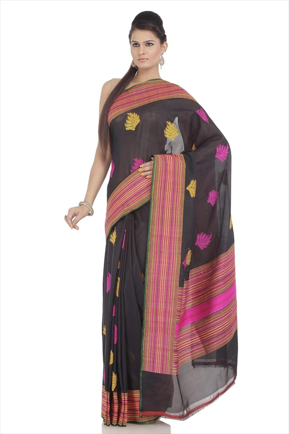 Black Kattan Silk Banarasi Saree