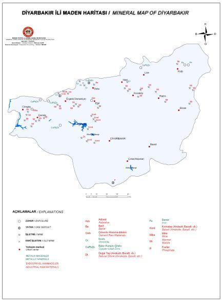 Diyarbak�r �li Maden Haritas�