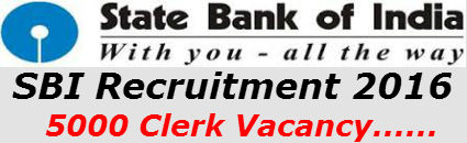 SBI Recruitment 2017 | SBI 5000 Clerk Vacancy | Notification | Results