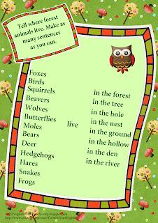 forest animals home worksheet
