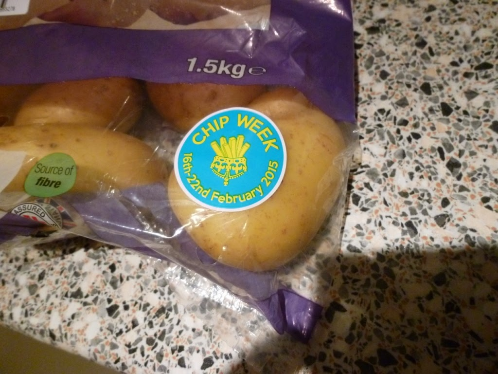 While shopping in our local Co-op we picked up a bag of potatoes to make some wedges with this week - the bag had a Chip Week sticker on it