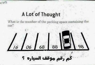 في الشكل الذي امامك هل يمكنك ان تعرف كم هو رقم موقف السيارة ؟