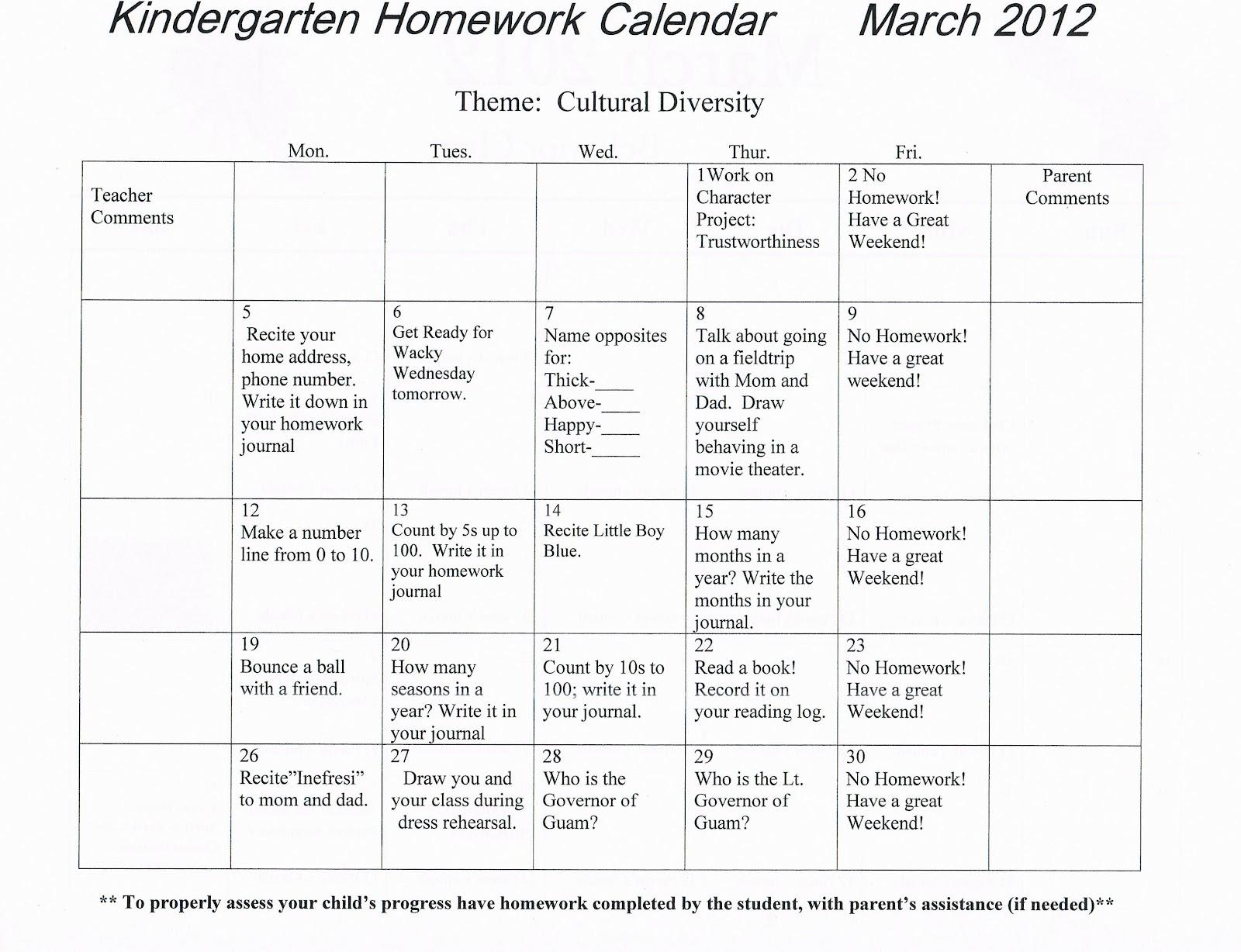 Homework Calendar Kindergarten : Kindergarten news at lbj
