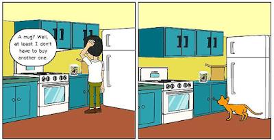 "Cartoon (panel 3) of Cat Ordering Mug from Zazzle ""Proud of Saving Animals"" by RoseWrites"
