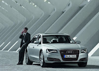 Man with Audi A8 L HD Wallpaper