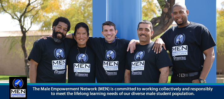 Photo of MEN members posing for group photo.  Caption: The Male Empowerment Network (MEN) is committed to working collectively and responsibly to meet the lifelong learning needs of our diverse males student populations.