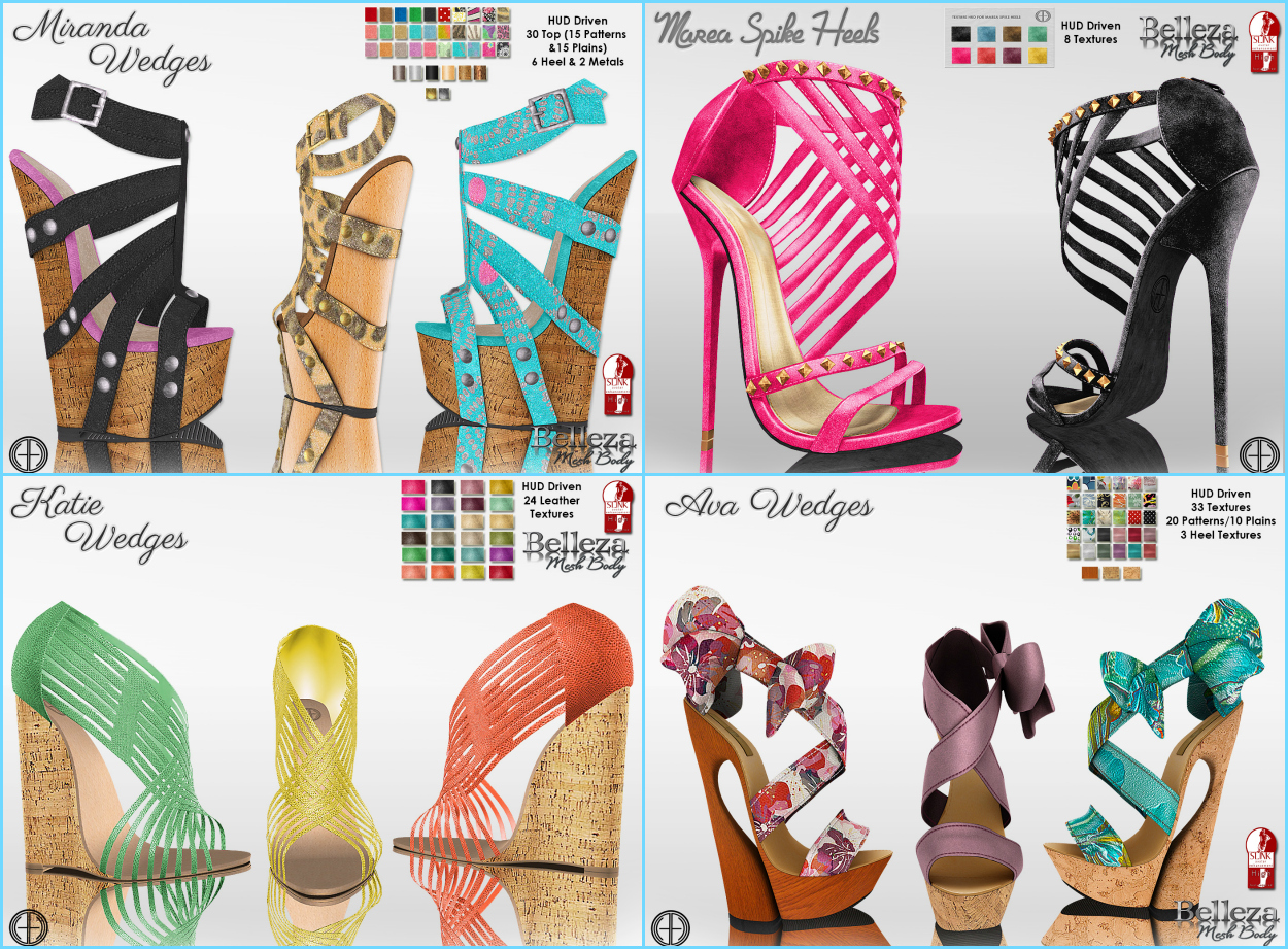 52b73a739b 1-  hh  SLink - Belleza Miranda Wedges HUD Driven 30 textures and change  the different parts of the shoe to your liking New!!