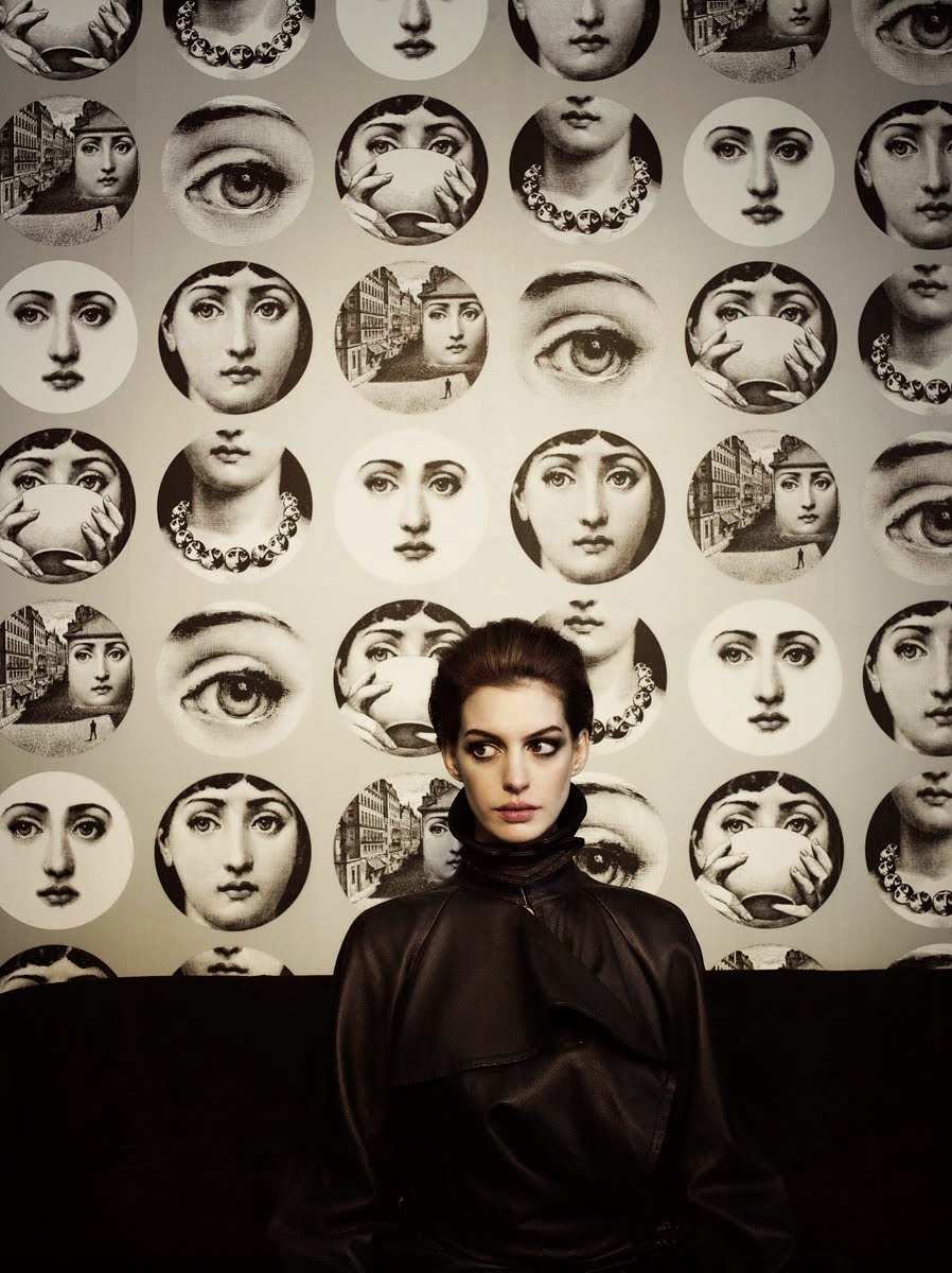 Photo: Kurt Iswarienko, Anne Hathaway & Piero Fornasetti prints