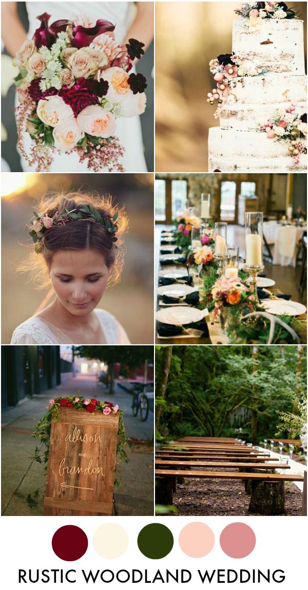 Rustic Woodland Wedding Inspiration Board & Color Palette