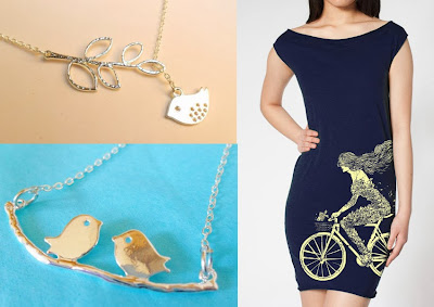 A bird necklace, another bird necklace, and a dress with a woman bicyclist