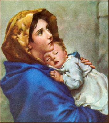 Virgen Maria postal religiosa retro