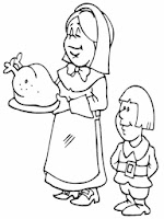 Mom Cooking Turkey For Thanksgiving Coloring Sheet