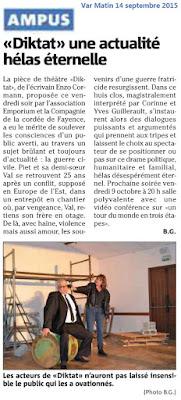 Article de Bernard Giuli (Var Matin 14/09/15