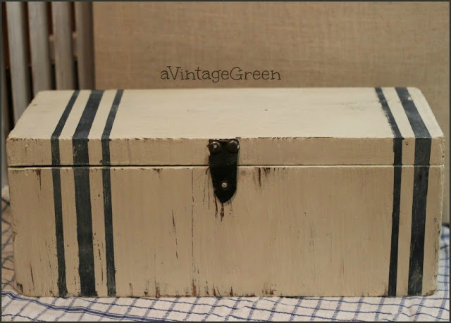 milk paint, chalk paint, and vintage grain sack wooden box makeover  A Vintage Green