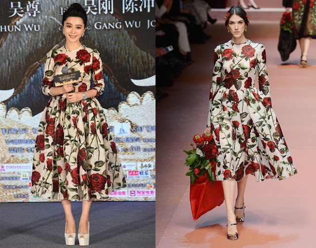 """Là """"tín đồ"""" của váy hoa, người đẹp không bỏ qua thiết kế họa tiết hoa hồng của Dolce & Gabbana."""