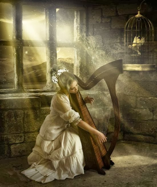 Elena Dudina deviantart art photomanipulation photoshop fantasy surreal dark women beautiful The harp