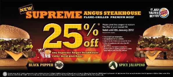 kupon coupon diskaun 25 Supreme Angus Steakhouse Spicy Jalapeno  Black Pepper