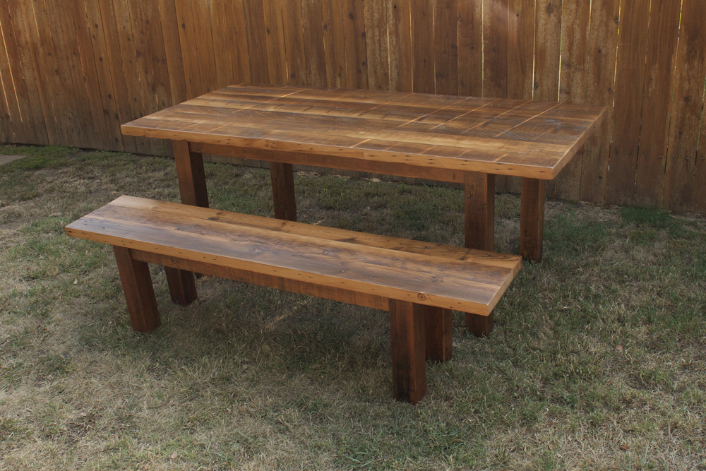Arbor Exchange Reclaimed Wood Furniture Reclaimed Wood Dining Table Matching Bench
